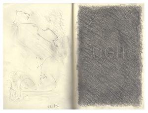 "UGH 11 x 8.25"" 2020 Pencil on Sketchbook Page Spread"