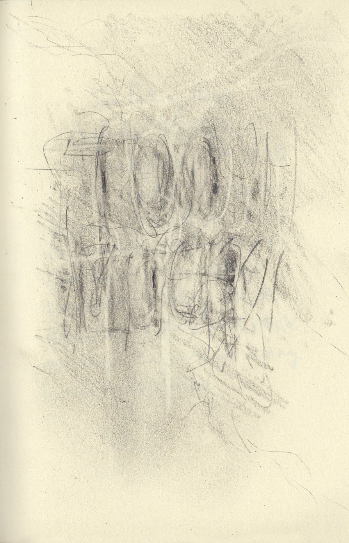 """TOO MUCH 5.5 x 8.25"""" 2020 Pencil on Sketchbook Pages"""